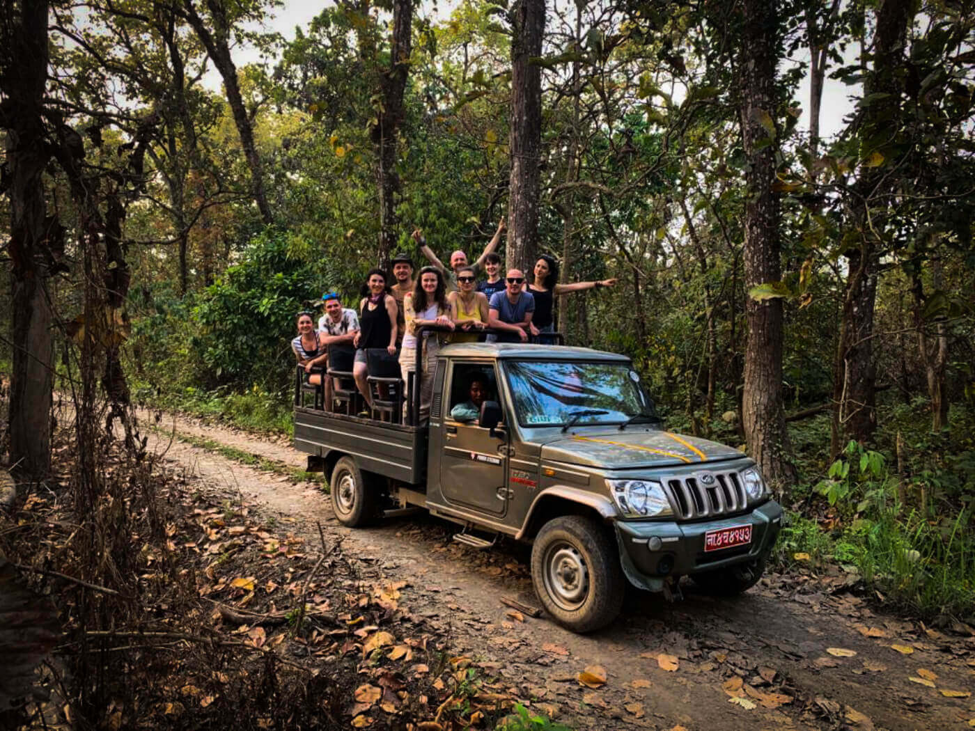 Tourist group in jeep