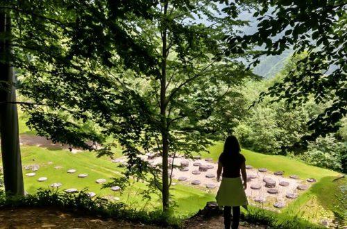 Girl looking at old Dacian temple