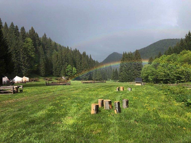 rainbow at glamping resort
