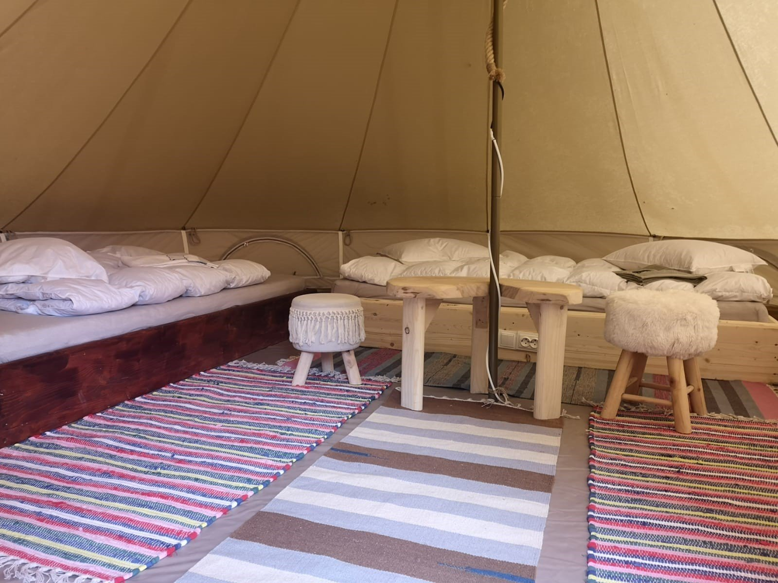 view inside Green Camp's glamping tents