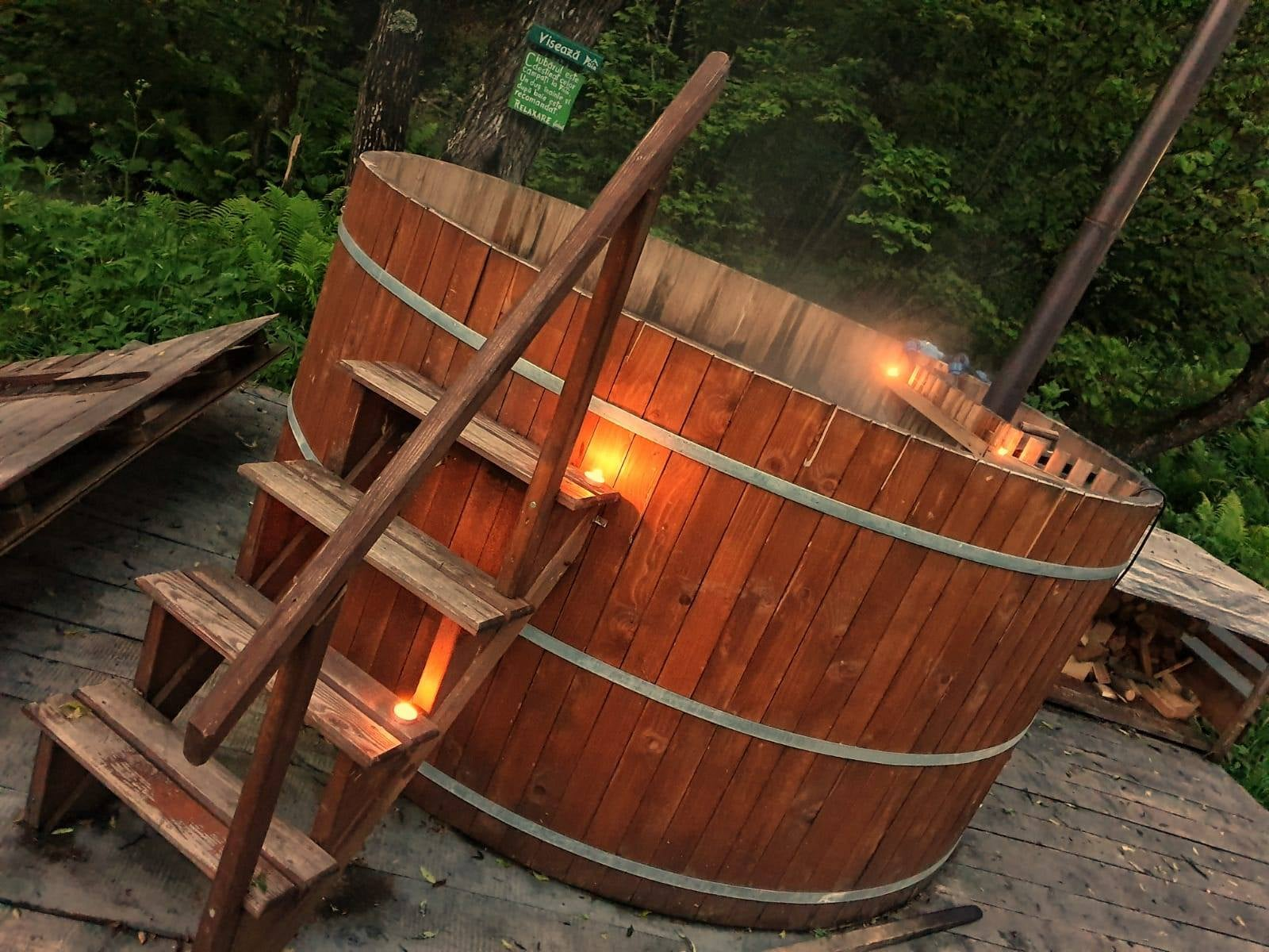 Wooden jacuzzi with hot water