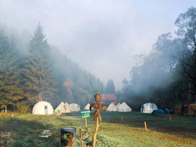 Morning mist and tents