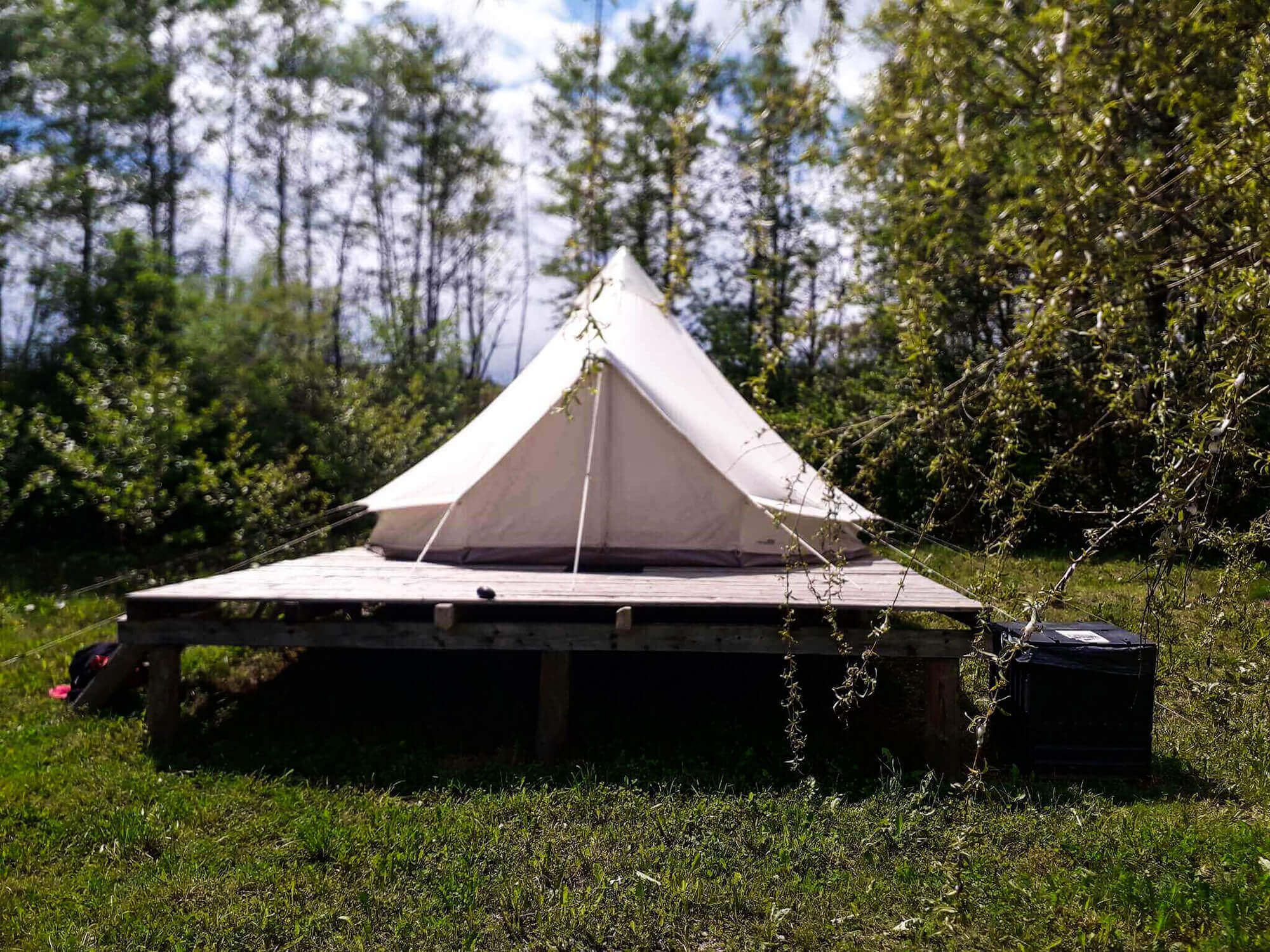 Closeup of a glamping tent