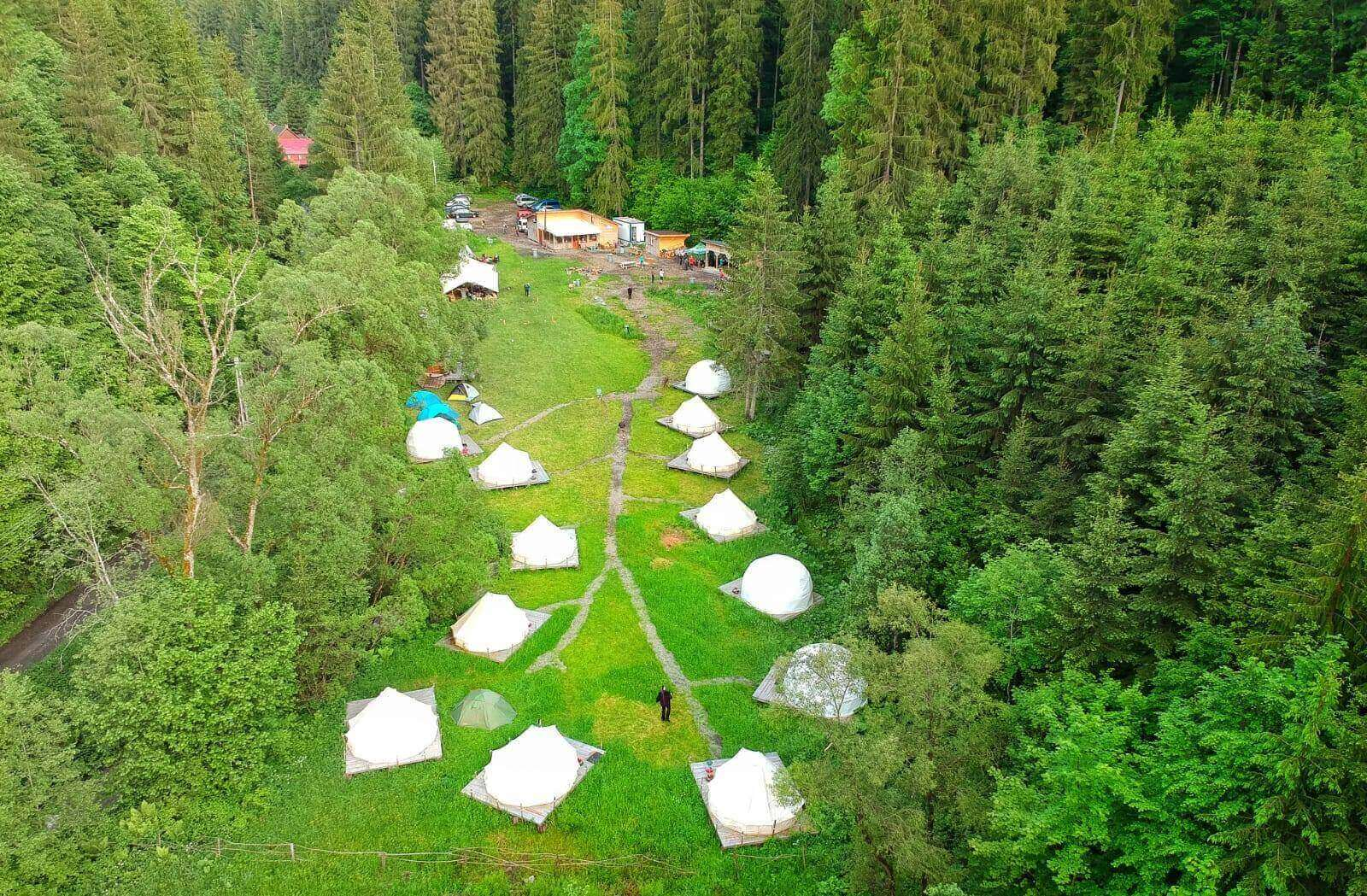 View from above over Fain Glamping Resort