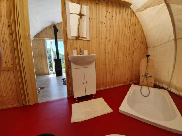 Bathroom inside glamping tent