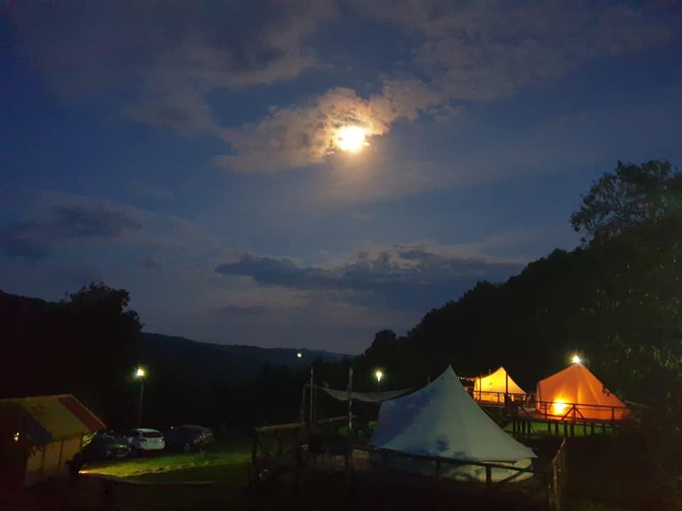 Moon shining over retreat