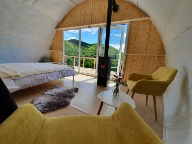 Interior of luxury glamping tent
