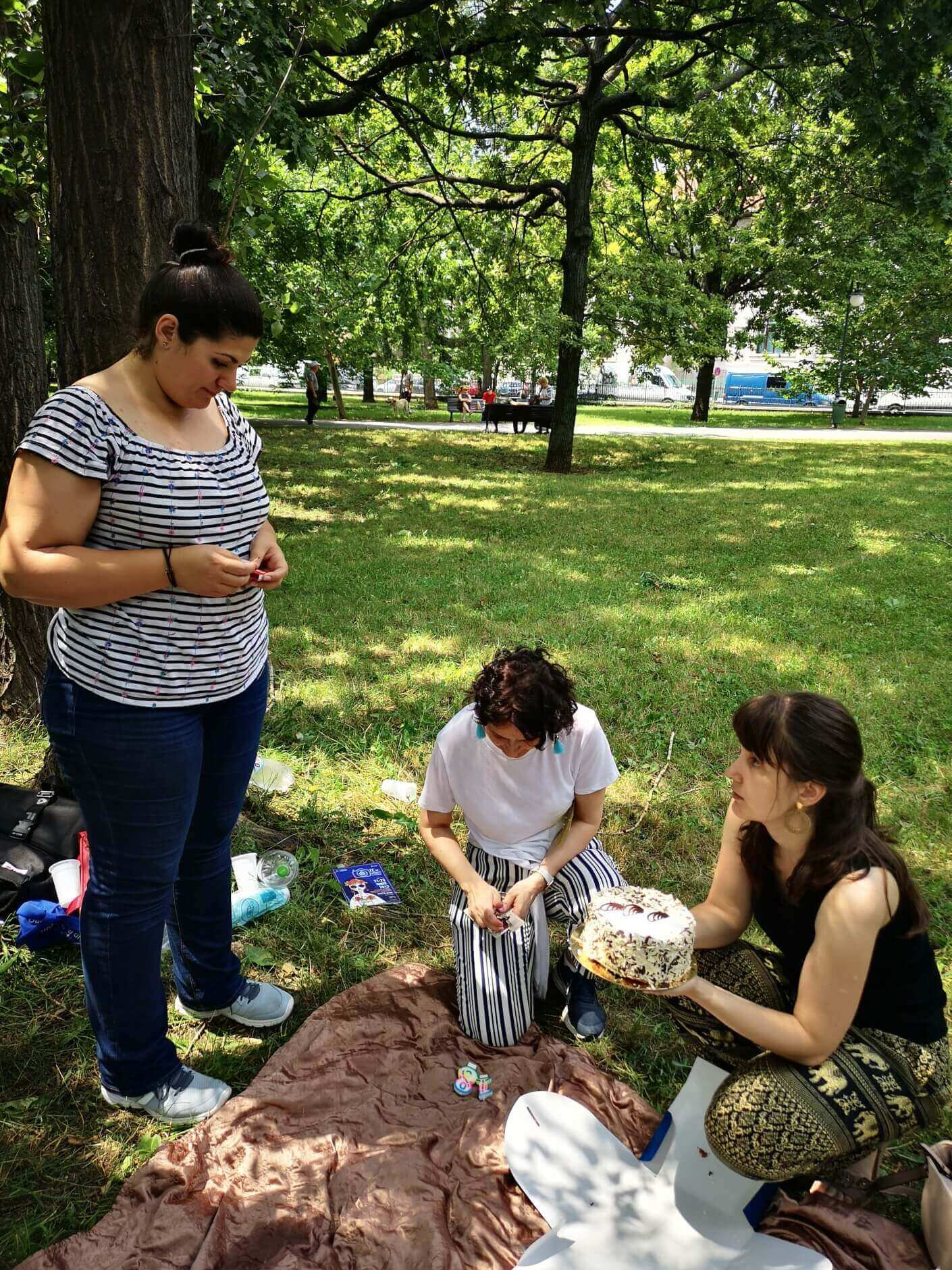 Girls preparing birthday cake at picnic in the park