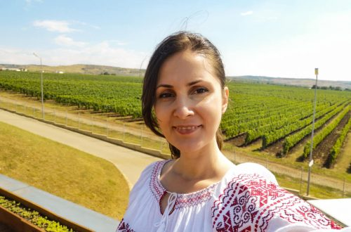 Girl in front of the vineyard