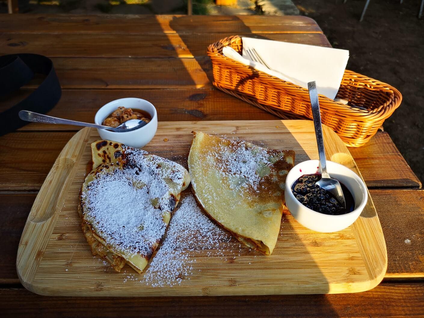 Pancackes with elderflower jam and nuts jam