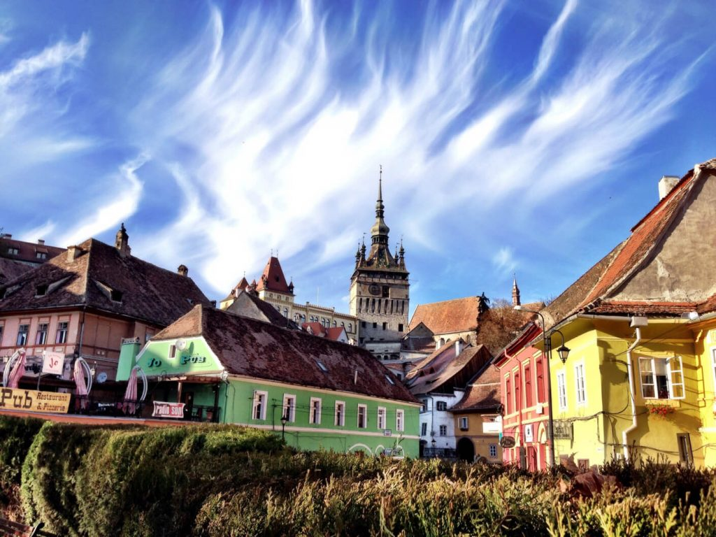 View over Sighisoara fortress in Romania