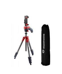 Manfrotto MKCOMPACTACN-RD Compact Action Aluminum 5-Section Tripod Kit with Hybrid Head, Red, Compact Action 61″