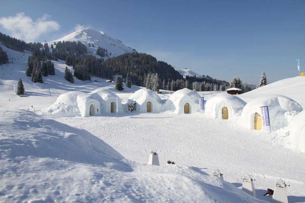 Exterior view of the ice hotel