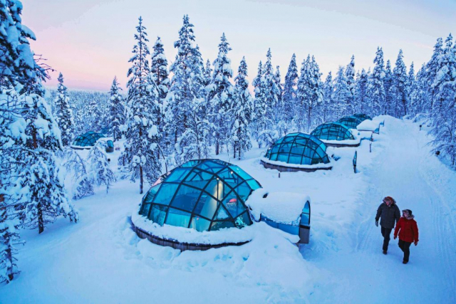 View over the glass igloos at Kakslauttanen Arctic Resort