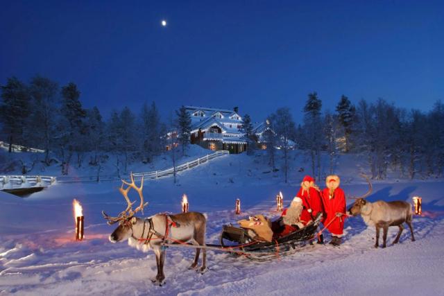 Santa's sledge in front of Santa's Celebration House