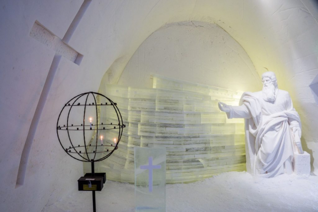Ice sculptures in the ice church