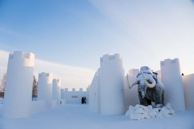 Entrance in the Snowcastle of Kemi