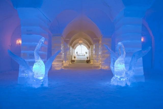 Ice sculptures inside Sorrisniva Ice Hotel