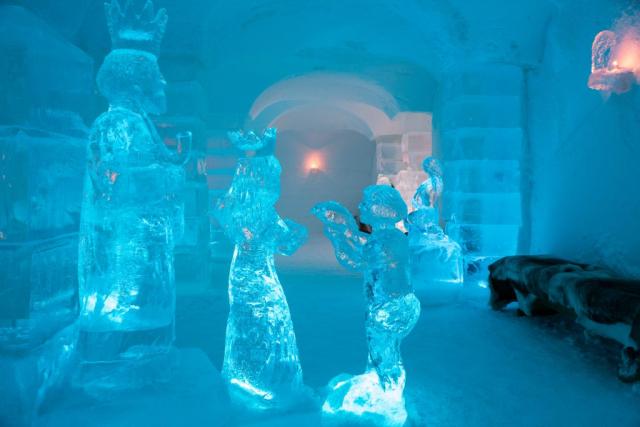 Ice sculptures inside Sorrisniva Icel Hotel