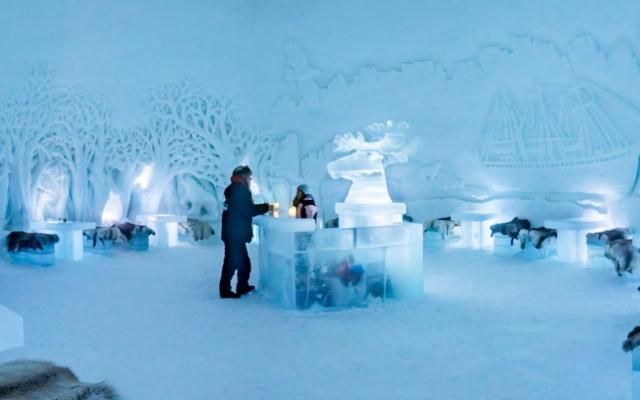 Inside the ice bar