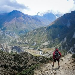 Man trekking in mountains