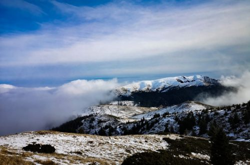View over snowy mountains