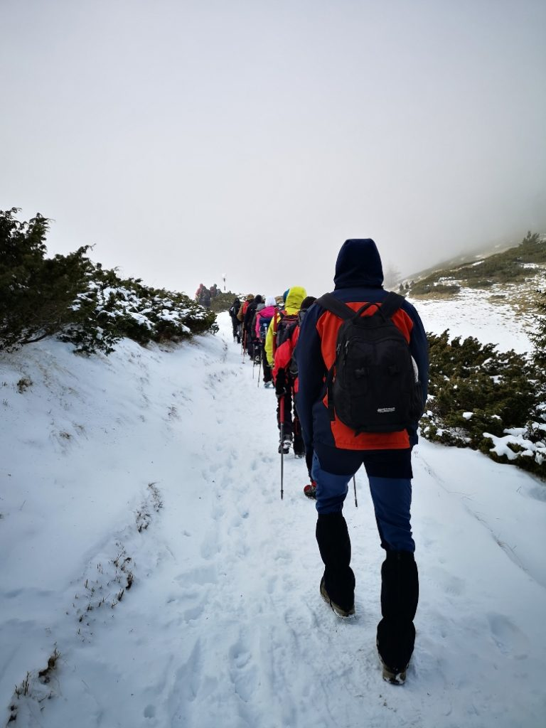 people trekking in a row