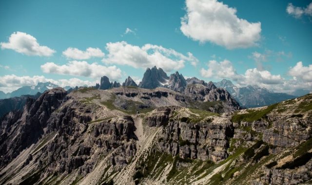 View over the Dolomites mountains in Italy
