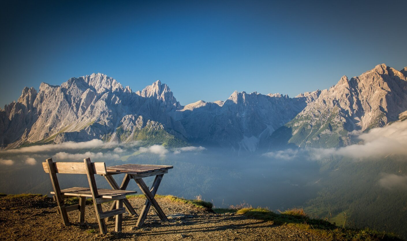 bench with a view over the mountains