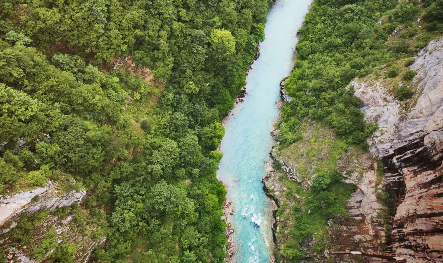 View from above of the Tara river