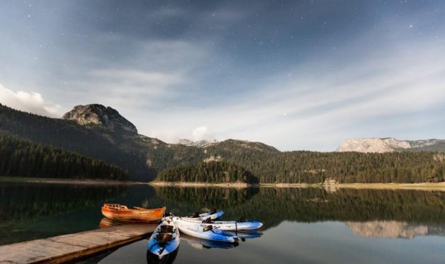 Kayaks near dock on the lake