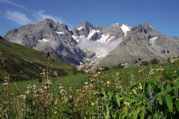 View of the snowy mountain peaks in Ecrins National Park