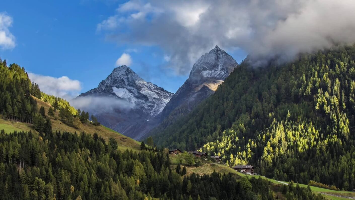 View over mountains in summer Hohen Tauern National Park