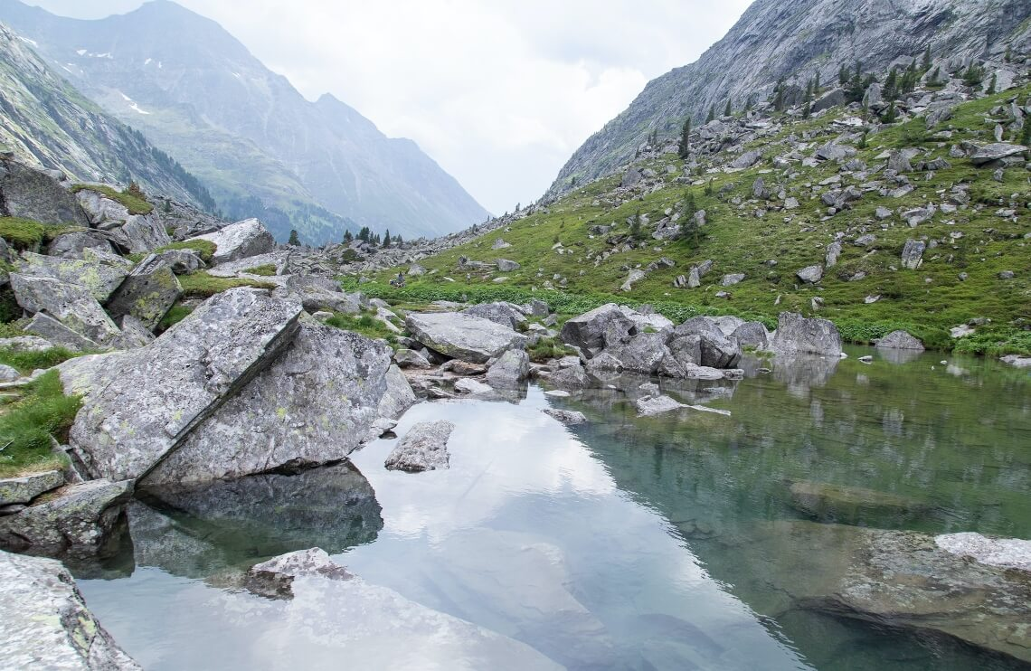View over lake and mountains in Hohen Tauern National Park