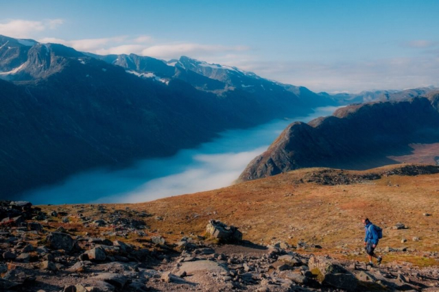 Man hiking and view over the mountains