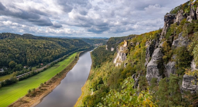 View over river and forested lands