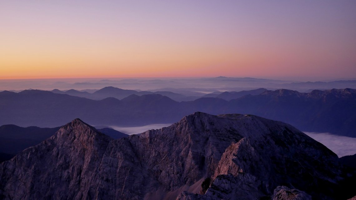 view over the mountains at sunrise - Triglav National Park