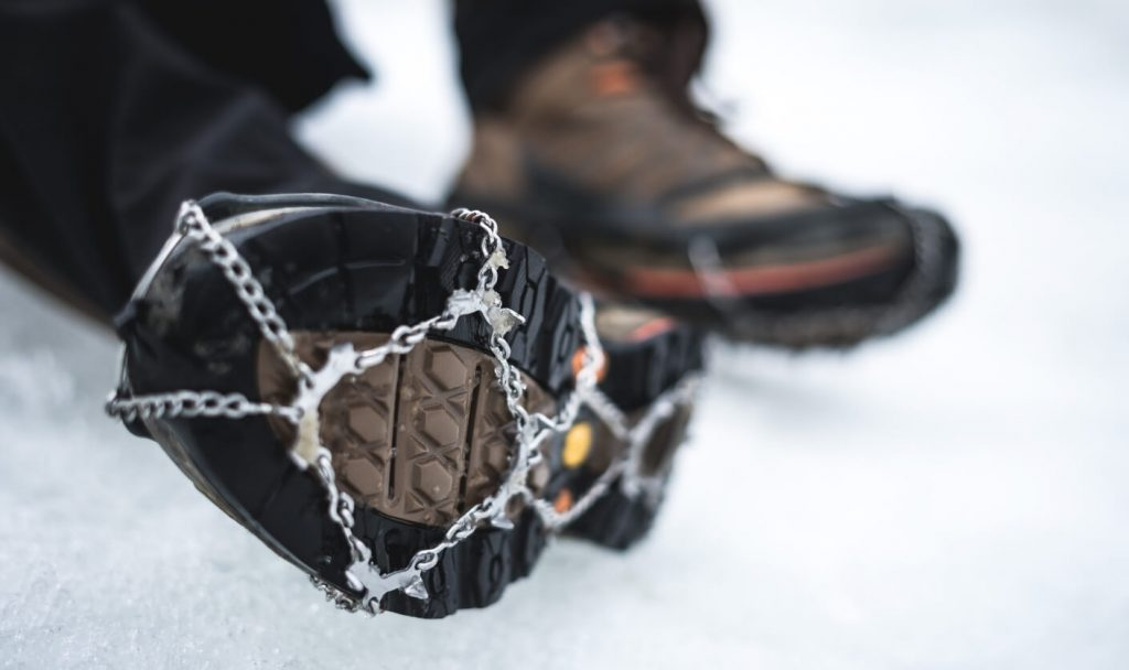 Microspikes on hiking boots for winter hikes
