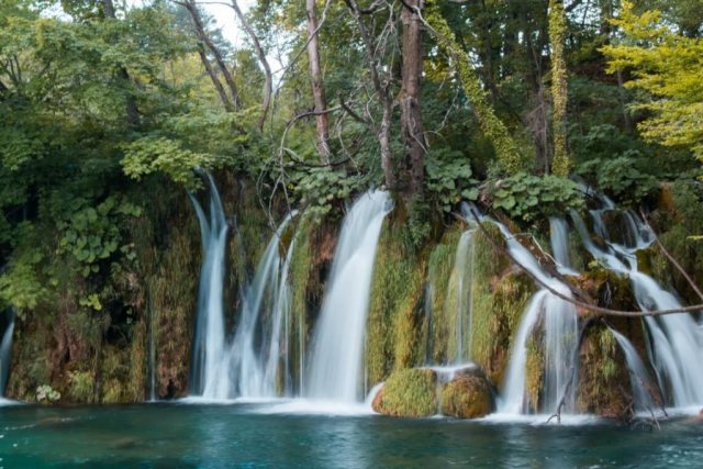 View over waterfalls and vegetation in Plitvice National Park