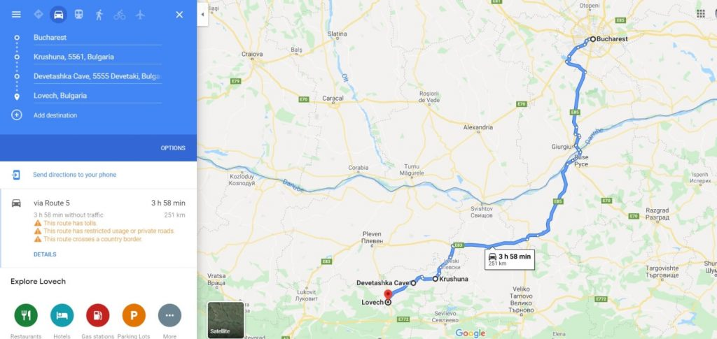 map to arrive at Krushuna waterfalls and Devetashka Cave