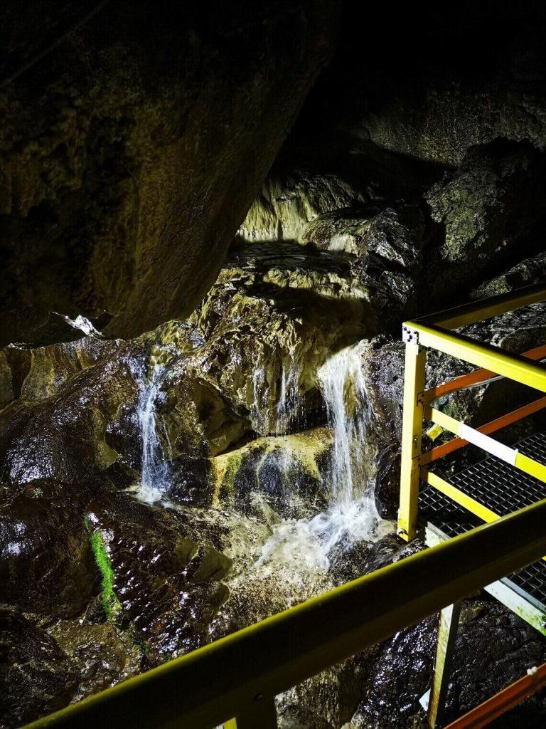 waterfall inside Ialomita Cave Romania