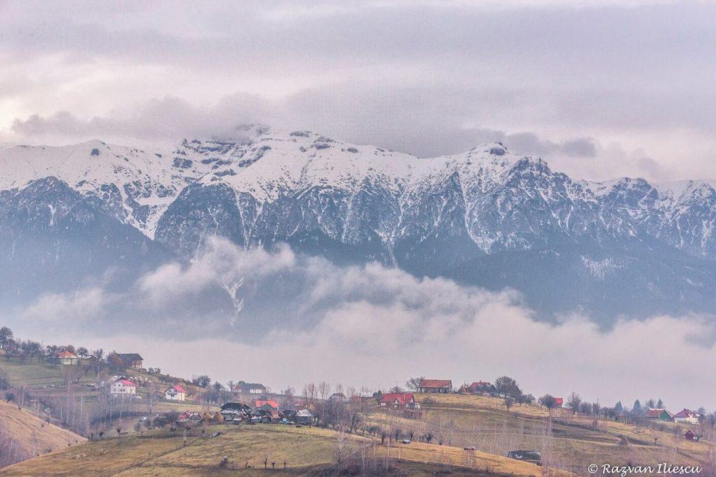view over Piatra Craiului from Magura village in Romania