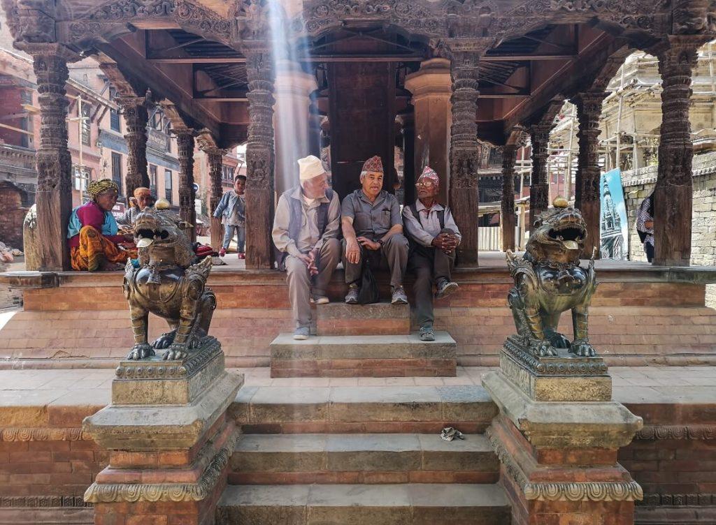 3 old Nepali people in Baktapur