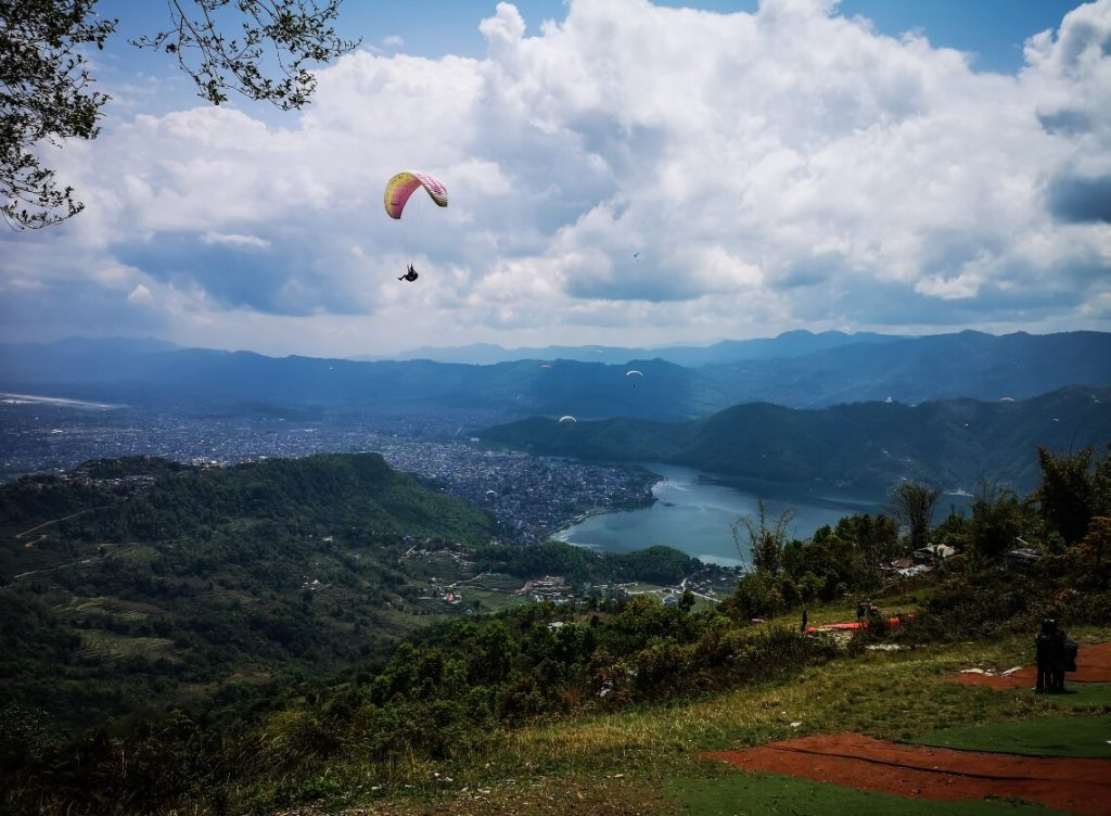 Paraglider taking off in Pokhara, Nepal