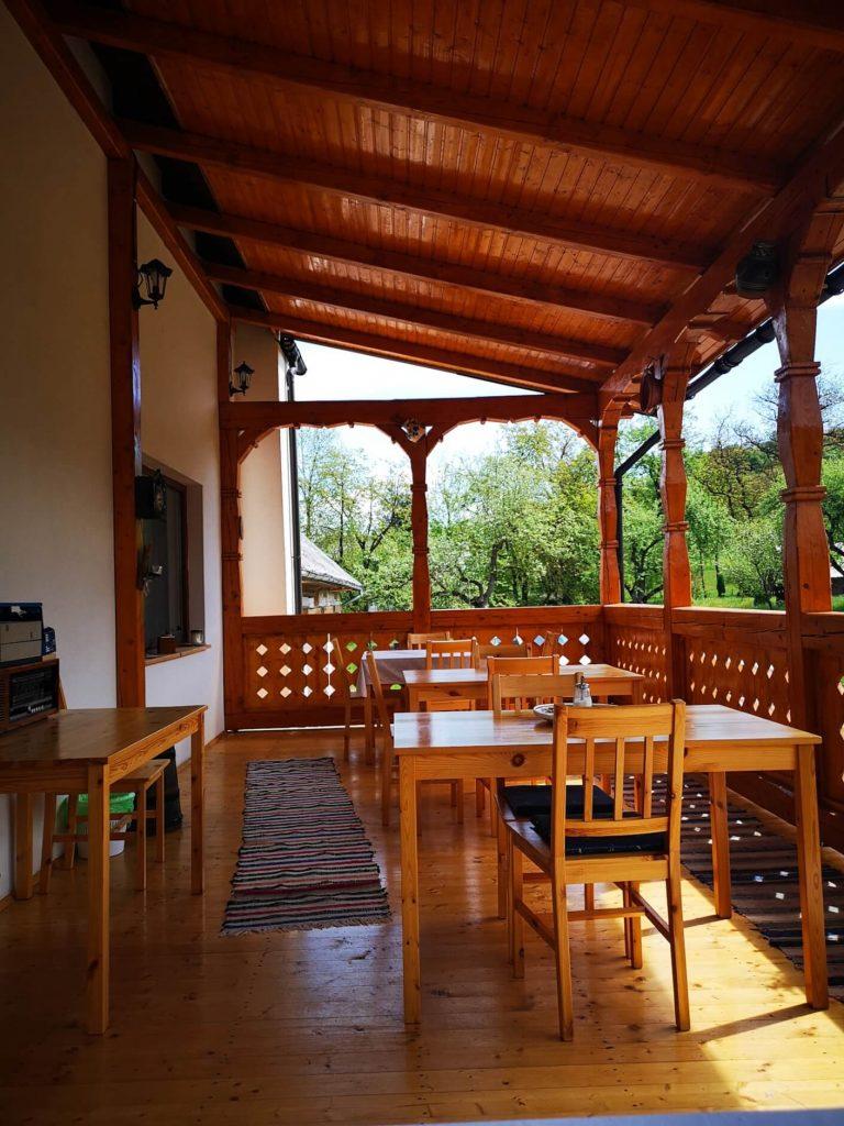 Terrace for dining at Casa din Susani, Maramureș, Romania