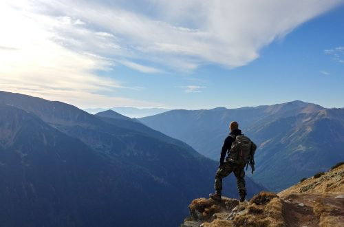 Man watching the mountains